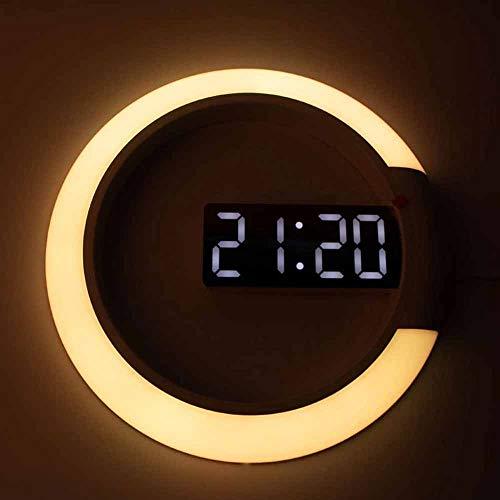 Mawwanta Reloj de Pared Digital LED, Relojes de Pared de jardín al Aire Libre con Alarma/Anillo de Temperatura Luz multicolora de 12 Pulgadas Redonda Redondo Reloj de Pared de Pared