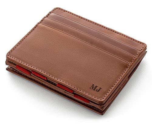 JAIMIE JACOBS Flap Boy mit Gravur - Das Original - Magischer Geldbeutel mit Münzfach RFID-Schutz Geschenk Herren echtes Leder (Dunkelbraun mit Rot)