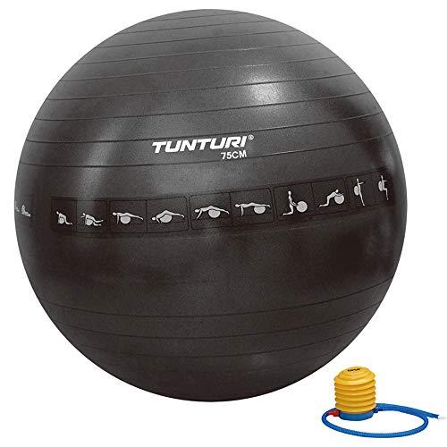 Tunturi-Fitness 14Tusfu288 Balón Suizo, Unisex Adulto, Negro, 75 cm