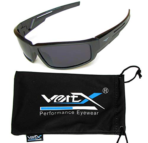 VertX Men's Polarized Sunglasses Sport Cycling Outdoor w/Free Microfiber Pouch – Black Frame – Smoke Lens