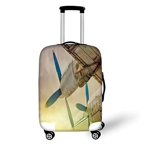 Reizen Bagage Cover Koffer Beschermer, Vintage Vliegtuig Decor, Oude Vleugel Vliegtuig met Propellers bij zonsondergang Snowy Winter Sky Decoratief, Bruin Blauw Geel, voor Reizen