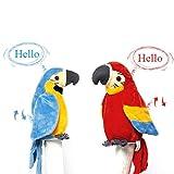 Jouet électronique en Peluche, Perroquet Apprendre à Parler, Parrot Jouets Agitant des Ailes, Jouets Interactif Intelligents Cadeau Noël Anniversaire pour Enfants - Rouge, Bleu