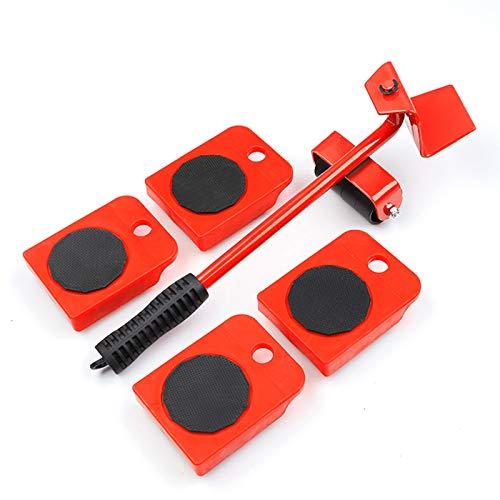 Lot de 5 roulettes de transport pour meubles - 4 roulettes pour meubles et 1 cric - Capacité de charge de 150 kg chacun