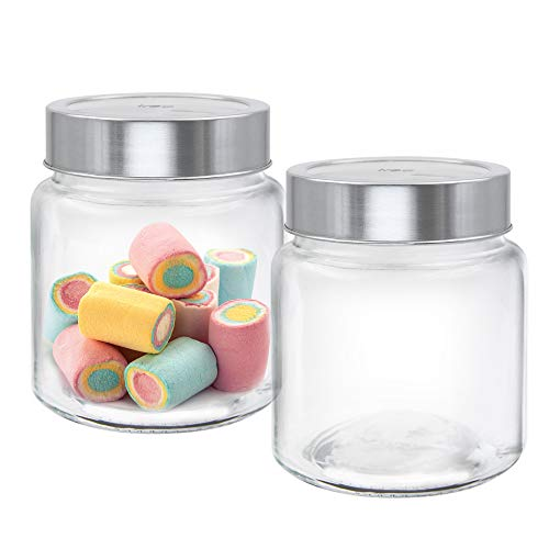 TREO Glass Jar - 580 Ml, 2 Pieces, Transparent