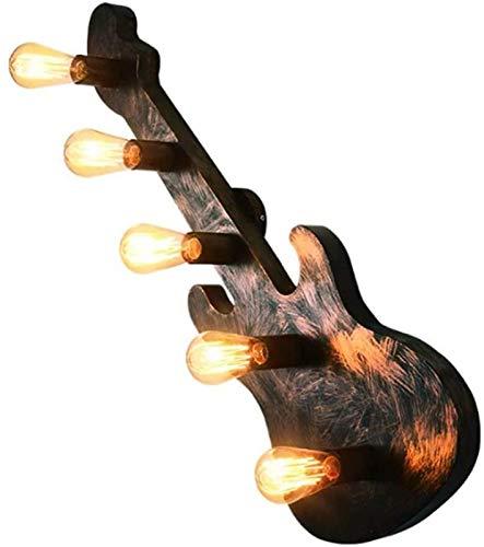 Luces de pared industriales, Retro Loft Guitarra Lámpara de pared Creativa Instrumento musical industrial Luz de pared decorativa E27 Metal Sconces Bar Restaurante Café Aisle Corredor Fancho de pared,