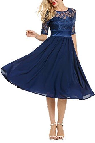 Meaneor Damen Elegant Cocktailkleid Ballkleid Abendkleid Brautkleid Brautjungfernkleid Spitzenkleid Chiffonkleid 1/2 Arm Langes Kleid Herbst …