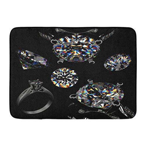 """NALLK-7A Alfombras de baño Alfombrilla para Puerta Anillo de Plata Bling Joyas de Diamantes Negro quilate Brillante Celebra 15.8""""x23.6"""