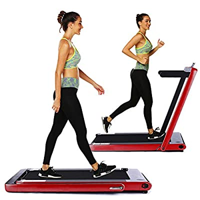 OppsDecor Under Desk Treadmill 2in1 Walking Running Machine Electric Treadmill Folding Pad Treadmill with Remote Control and Bluetooth Speaker for Home & Office Workout Indoor Exercise Machine (Red)