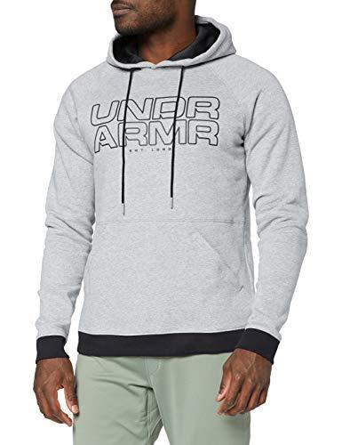 Under Armour Baseline - Sudadera con capucha y forro polar para hombre, Hombre, color Steel Light Heather/Black, tamaño Large