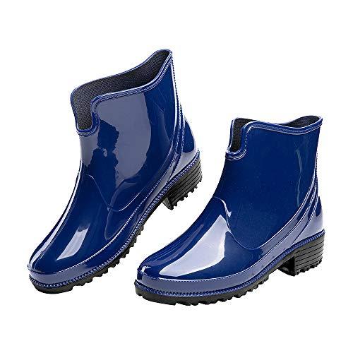 Botas de Agua Mujer Botines Lluvia Goma Jardín Trabajo Impermeables Chelsea Boots Antideslizante Cómoda Negro Talla39