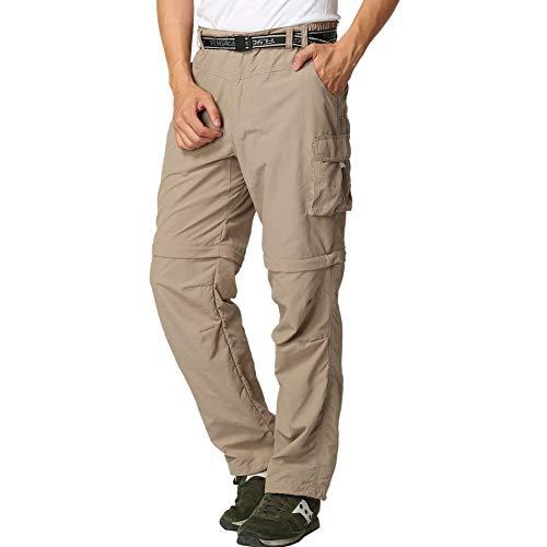 FLYGAGA Herren Outdoorhose Wanderhose Zip Off Hose Shorts Sommer mit Gürtel Leichte Schnelltrocknend Atmungsaktiv FunktionshoseTrekkinghose (Khaki, L(W36*L32))