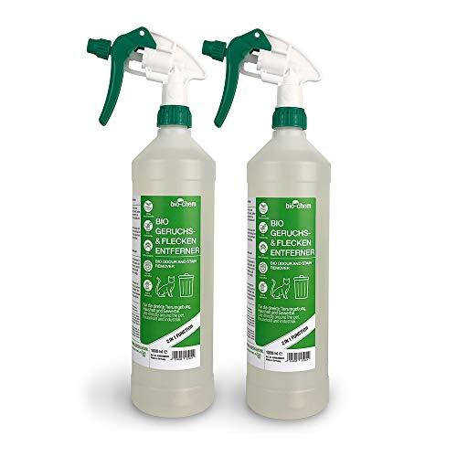 Bio-Chem Bio Urin Attacke Geruchs- und Fleckenentferner SPARPACK 2000 ml Geruchsneutralisierer, Geruchsvernichter, Katzen-Geruchsentferner, Katzen-Urin und Hunde-Urin Entferner, Urin-Reiniger