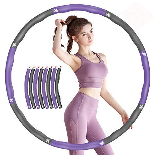 TvvaaFog 【Verbessern Fitness Hula Hoop Reifen für Erwachsene Exercise Hoop Reifen 6-8-Segmente Abnehmbarer Wellenmassage-Design Fitness/Sport/Bauchformung/Gewichtsreduktion(Grau-Lila)
