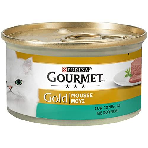 Purina Gourmet Gold Umido Gatto Mousse con Coniglio, 24 Lattine da 85 g Ciascuna, Confezione da 24 x 85 g