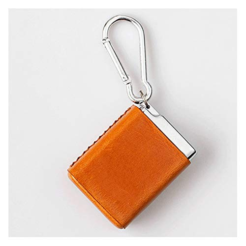 ZNZN AshTray Handmade portable ashtrays for cigarettes with lids and buckles for carrying around,compact,top layer cowhide,thick aluminum alloy. Cigarette Ashtray (Color : Orange)
