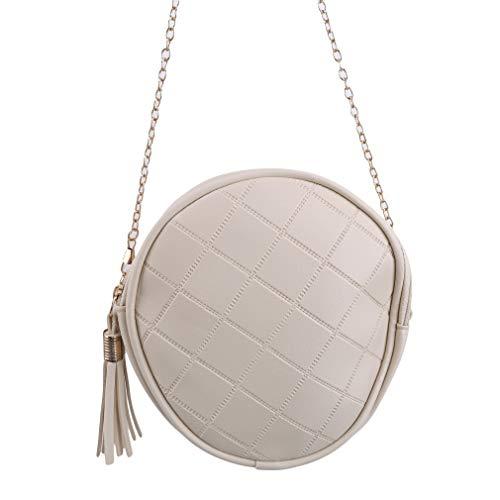 Kaned Bolso de las mujeres cremallera rombo pequeño redondo portátil ocio borla Messenger bolso de hombro, cremoso-blanco