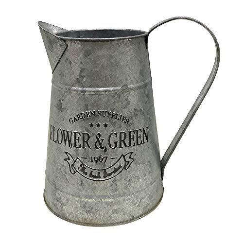 WHHOME Shabby Chic Silver Watering Can Galvanized Finish Metal Vase Country Rustic Pitcher Primitive Jug Decorative Flower Holder, 7.1' H(Large)