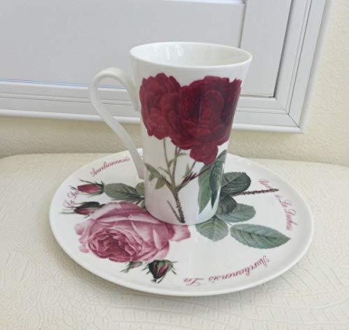 Roy Kirkham Fine Bone China Large Cup Saucer Set England Roses Theme Porcelain