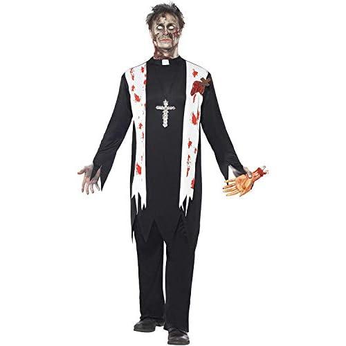 SMIFFYS Smiffy's Costume Zombie Prete, comprende Top Insanguinato, Ferita in Lattice, Collare e P Uomo, Nero, L-Dimensione 42