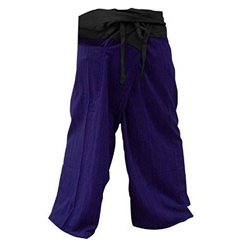 kittiya 2 TONE Thai Fisherman Pants Yoga Trousers FREE SIZE Plus Size Cotton Blue violet and Charcoal