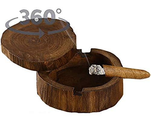 WJSX 5-Zoll-Original-Aschenbecher aus Holz Zigarrenaschenbecher einzigartige handgefertigte 360-Grad-Drehfeuerabdeckung Freien und drinnen