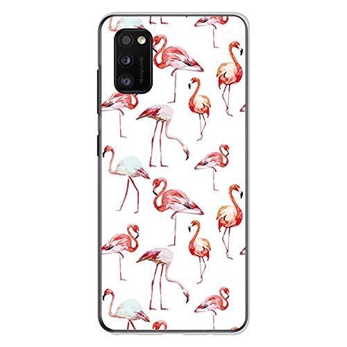 BJJ SHOP Transparent Hülle für [ Samsung Galaxy A41 ], Klar Flexible Silikonhülle, Design: Flamingos auf weißem Hintergrund
