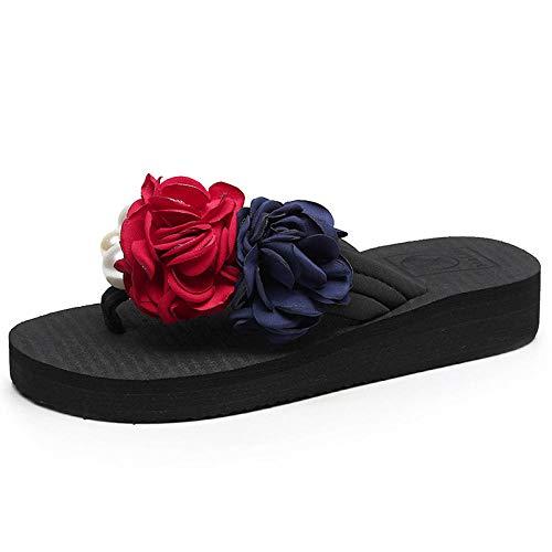 lxylllzs Playa y Piscina Unisex Zapatos,Las Zapatillas de Flores de Perlas de Moda Usan Chanclas Casuales-Negro_39,Sandalias Zapatos de Playa y Piscina,