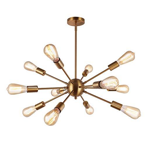 SISVIV Lámpara de Araña Sputnik Moderno 12 Brazos Luz de Techo Colgante Industrial Retro Iluminación para Sala Dormitorio Comedor Cocina Loft Oro Latón