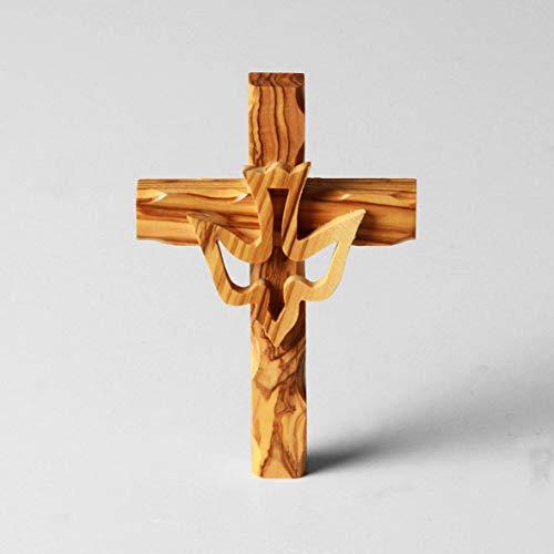 KASSIS Olivenholz Kreuz mit Taube Wandkreuz Kruzifix zum Aufhängen 12 cm aus Bethlehem