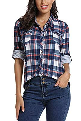 EXCHIC Women's Button Down Plaid Shirt Roll-up Sleeve Blouses Tunics