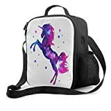 Delerain - Bolsa de almuerzo con diseño de unicornio, con asa y correa para el hombro, bolsa de aperitivos para niños, niñas, niños, preescolar, oficina, picnic