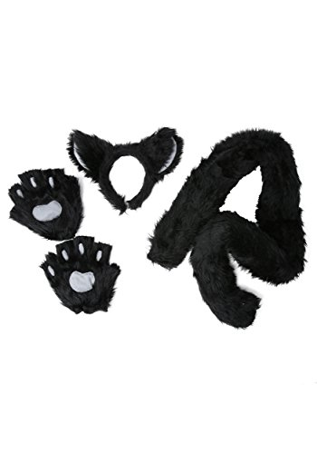 Deluxe Black Cat Costume Kit Headband Tail and Paws Standard