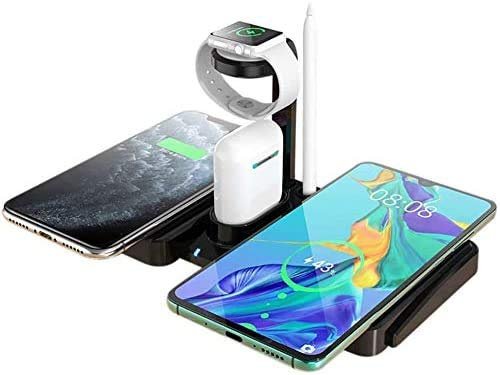 OH Wireless Charger, 4 in 1Charging Dock for iPhone 11/11 Pro Max/Xr/Xs Max/Xs/8/8 Plus/Samsung/Andriod Phones, Chargers Station for Airpods Pro and Watch Lightweight and Portable