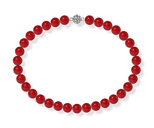 Schmuckwilli Südsee Tahiti Damen Muschelkernperlen Perlenkette Rot Magnetverschluß echte Muschel 45cm dmk2005-45 (12mm)
