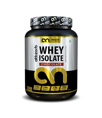 Abbzorb Nutrition Whey Isolate 27.4g Protein   7g BCAA -with Digestive Enzymes 1 kg (Chocolate Flavour)