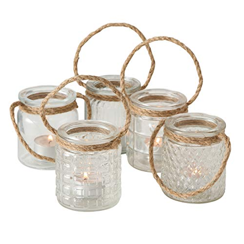 Beach Chic Nautical Rope Hurricane Lamps, Clear Glass Candle Holder, for LED or Wax Votive, Pillar or Tealights, Wind Light, Set of 5, 2 3/4 x 2 3/4 x 3 1/2 Inches