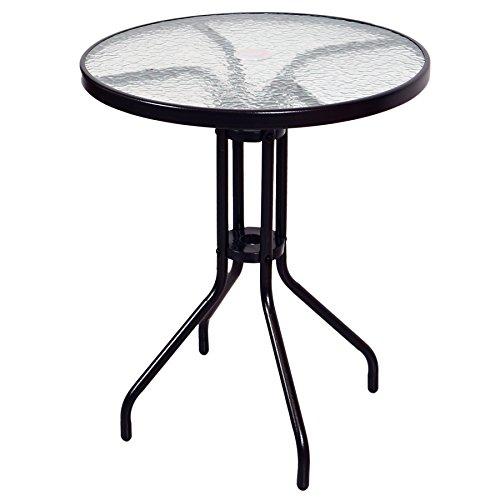 Nexos Bistroset Balkonset Rattanset – Sitzgarnitur aus Glastisch & Bistrostuhl – Stahlgestell Poly-Rattan Glasplatte – robust stapelbar – dunkel-braun - 2
