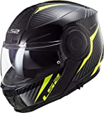 LS2 - Casco Modular para Moto Scope Skid Black H-V Yellow, Talla XXL