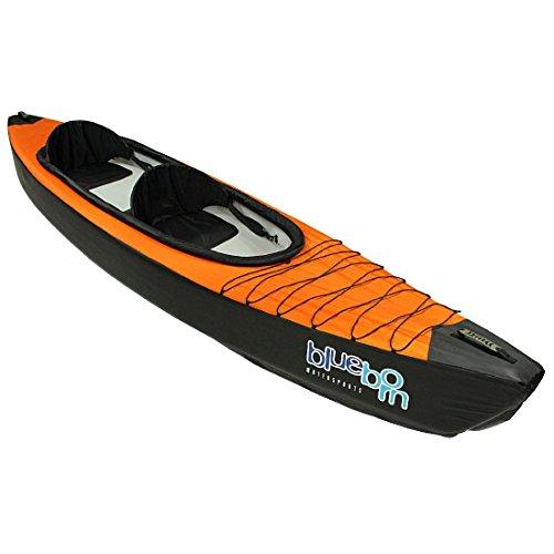 Blueborn KK2Touren-Kayak 365x 77cm, Canoa con camere d'Aria Drop-Stitch ad Alta Pressione e Fodera in Nylon, Canoa per 2Persone, Barca a Remi con 200kg di Portata, Kayak