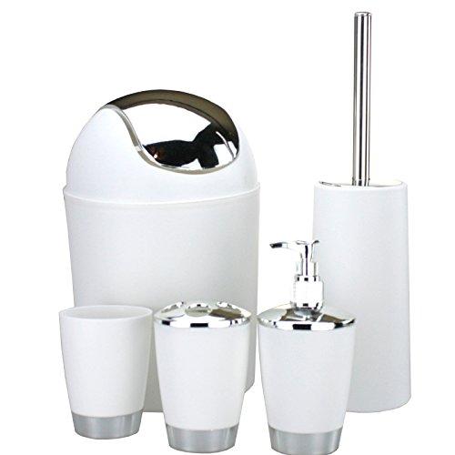 Smartweb 5 Teiliges WC Set Mülleimer Klobürste Seifenspender Mülleimer Abfalleimer (Weiss)