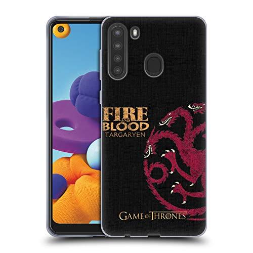 Head Case Designs Licenciado Oficialmente HBO Game of Thrones Targaryen Lemas de La Casa Carcasa de Gel de Silicona Compatible con Samsung Galaxy A21 (2020)