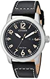 Citizen Men's Eco-Drive Stainless Steel Quartz Leather Calfskin Strap, Black Casual Watch (Model: BM8471-01E)