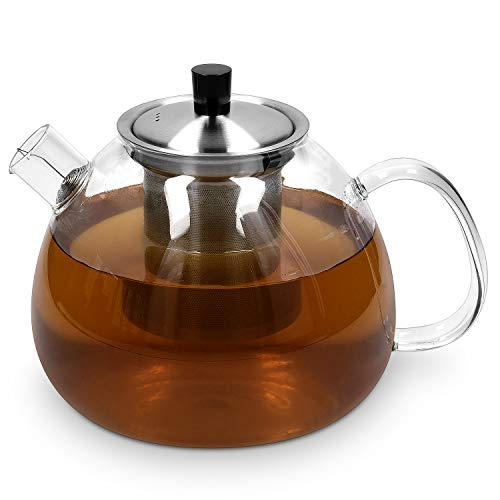 Navaris Teekanne mit Sieb und Deckel - 1500ml Tee Kanne mit Teesieb für 5-7 Tassen - Teebereiter Glaskanne mit Siebeinsatz - aus Borosilikatglas
