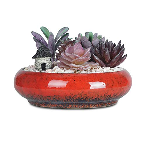 6.1 inch Round Succulent Planter Pots with Drainage Hole Bonsai Pots Garden Decorative Cactus Stand Ceramic Glazed Flower Container Bowl (Red)