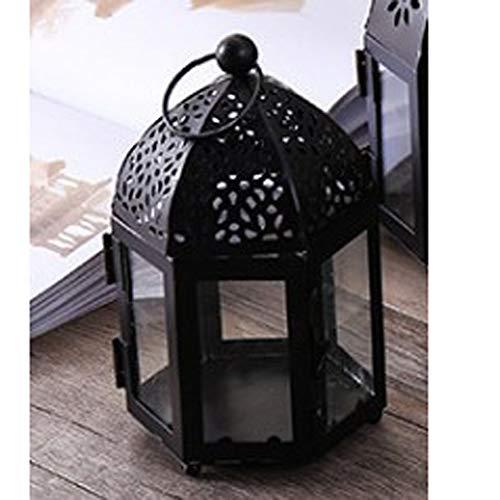 NanXi Kerzenständer für Glaslampe - Kerzenhalter - Iron Wind Lampe von Marokko Schmiede für Hochzeit Home Decoration,B