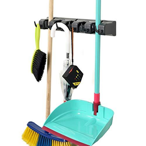 Alpine 498-GRY Mop and Broom Holder, Grey