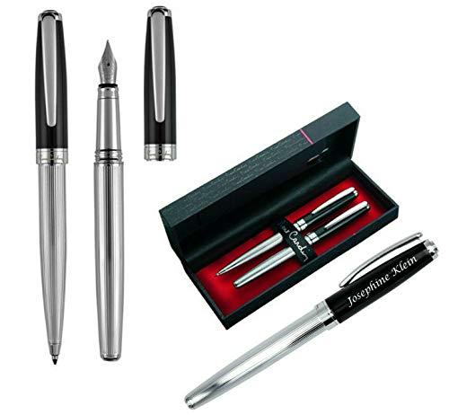 Pierre Cardin Schreibset CHRISTOPHE Kugelschreiber und Füllfederhalter Chrom-Schwarz mit Laser Gravur graviert zum Geburtstag