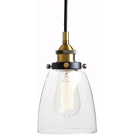 SISVIV Suspension Luminaire Industrielle Vintage Rétro Edison Abat-jour en Verre Lustre Lampe Design Plafonnier Pendant E27 Cuisine Chambre Salle à manger Restaurant Bar