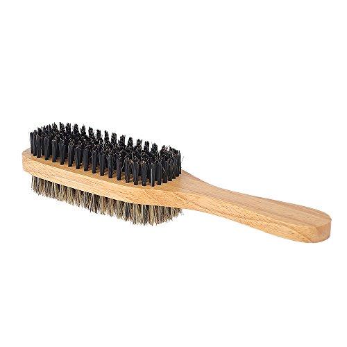 Anself Men's Beard Brush Double-sided Facial Hair Brush, Shaving Comb Male Mustache Brush Solid Wood Handle, Agréable au Toucher Brosse à barbe et Bois Naturel, Optional Size (L)