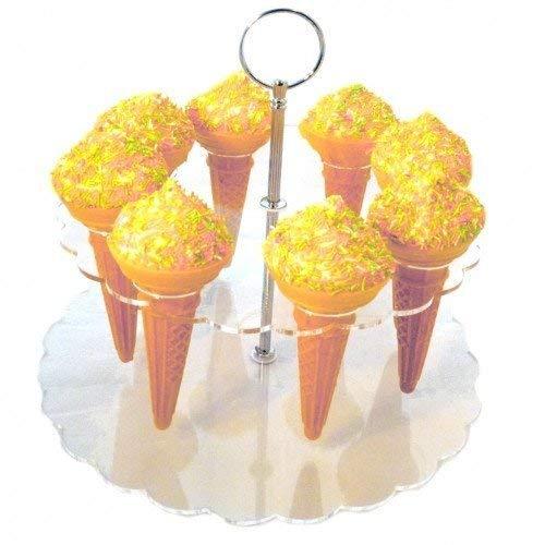 Creations Cornet de crème glacée Stand (8 Support de cône pour Glaces, Pop-Corn, Bonbons & Savorys), Clair Acrylique